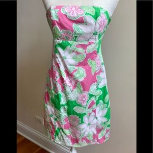Strapless Lilly Pulitzer Green and Pink Dress
